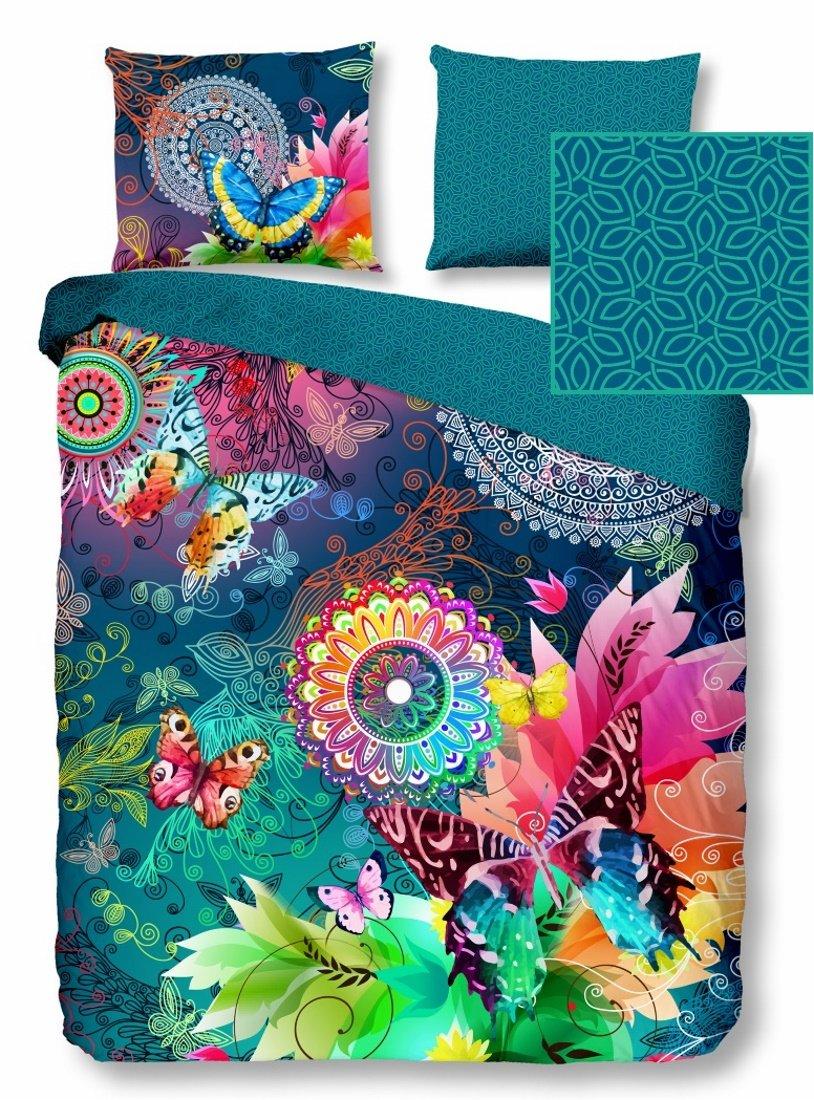 HIP Wende-Bettwäsche PARADA 5104 Doubleface Reine Baumwolle exotisches Muster Mandalas Ornamente Schmetterlinge 200x200 cm Gute Laune Farben bunt