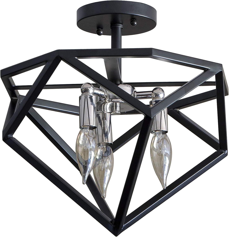 Décor Therapy CH1893 Alexa Metal Geometric 3-Light Semi Flush Mount Fixture, Black/Chrome