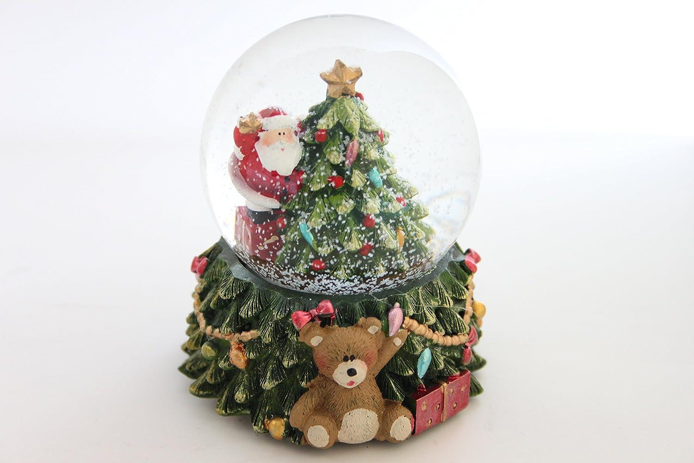 Gisela Graham Père Noël avec sapin de Noël à LED, résine et verre Snow Dome