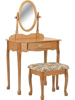 Genial Crown Mark Vanity Set, Oak