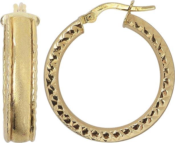 14K Yellow Gold 3 MM Diamond-Cut Round Huggie Hoop Earrings MSRP $191