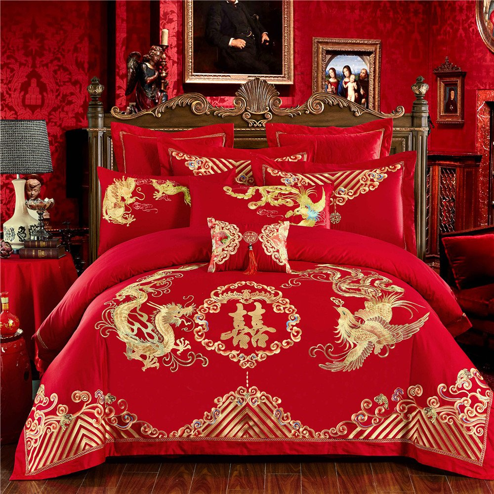 EsyDream Chinese Wedding Red Bedding Set Double happiness with Dragon and Phoenix Bird Embroidery Duvet Bedlinen Sets 6-Pieces High-Grade Long-staple Cotton 100%,Queen/Full Size (6PC/Set) by EsyDream