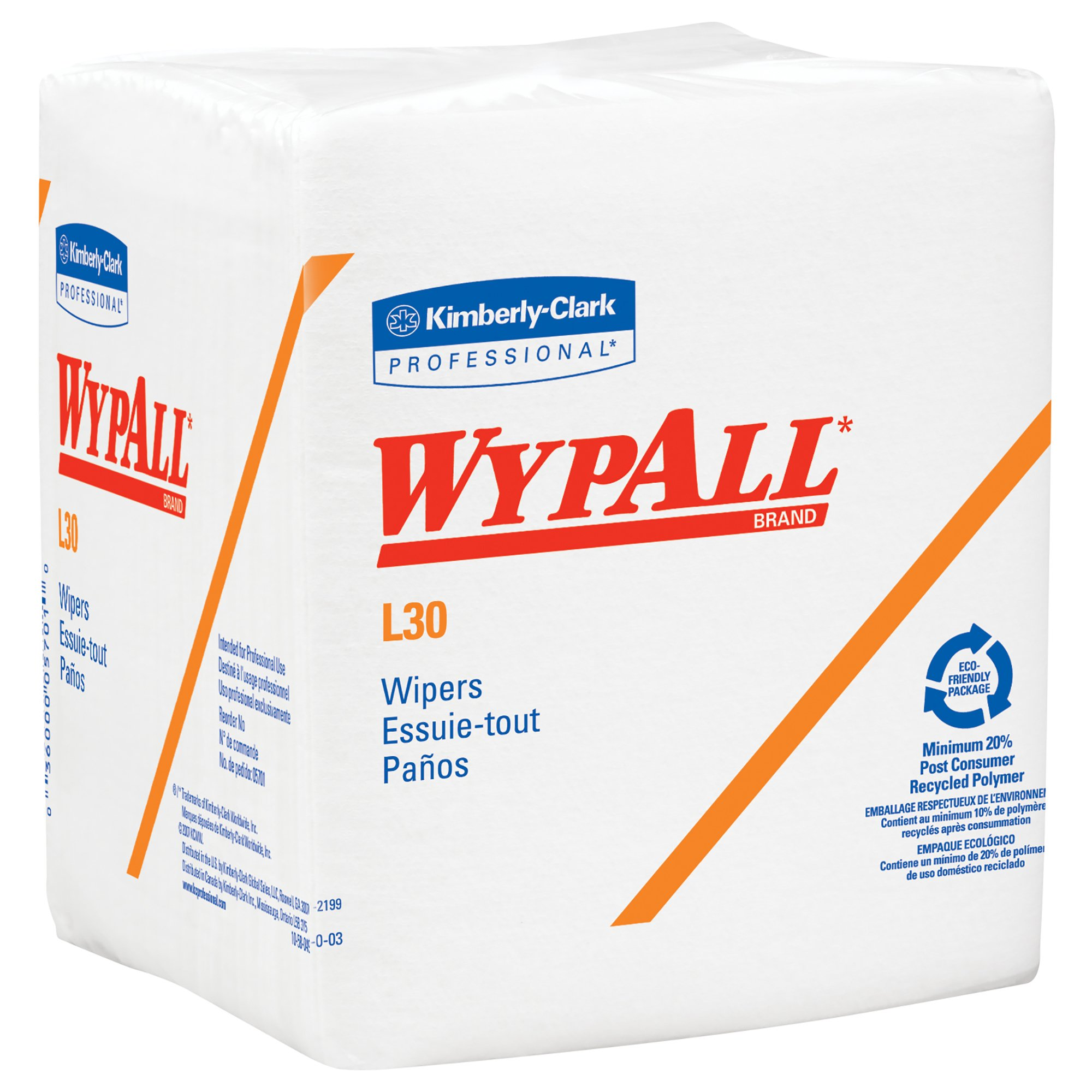 Wypall L30 DRC Towels (05812), Strong and Soft Wipes, White, 12 Packs/Case, 90 Towels/Pack