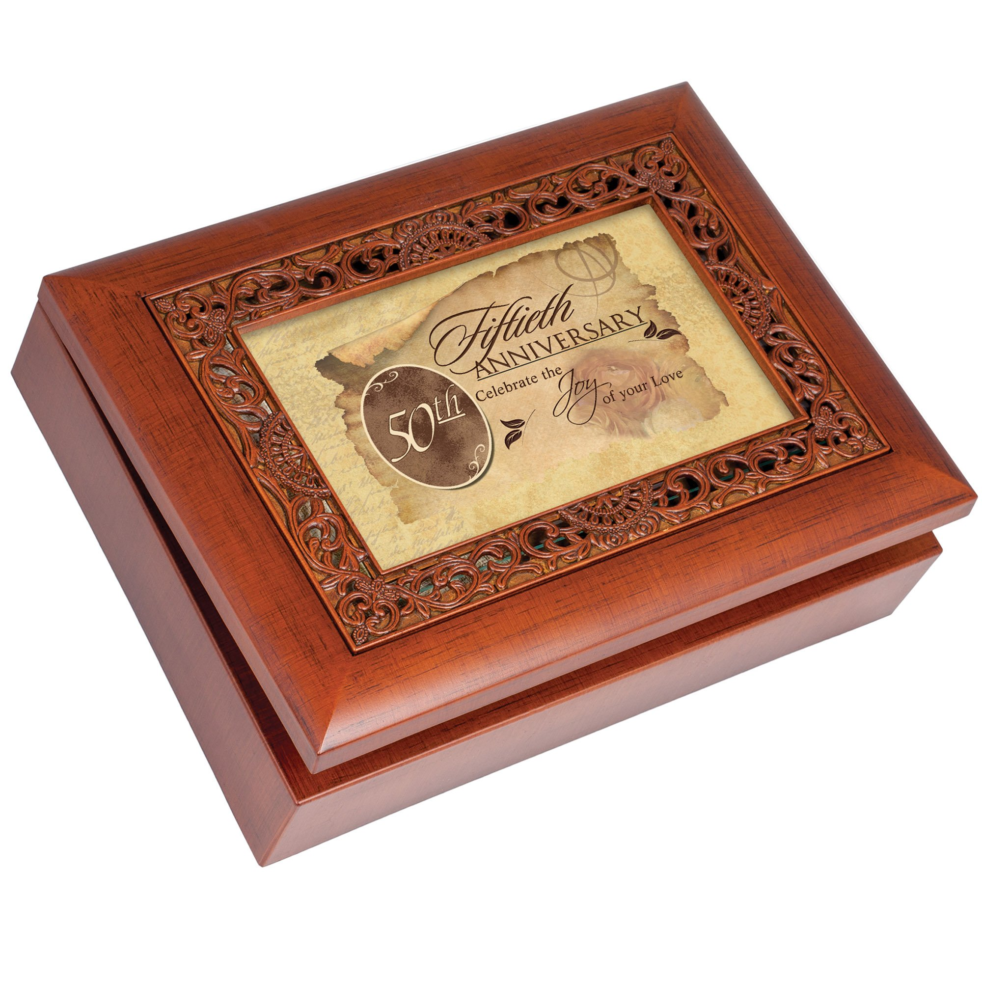 Cottage Garden 50th Anniversary Woodgrain Inlay Jewelry Music Box Plays Light Up My Life