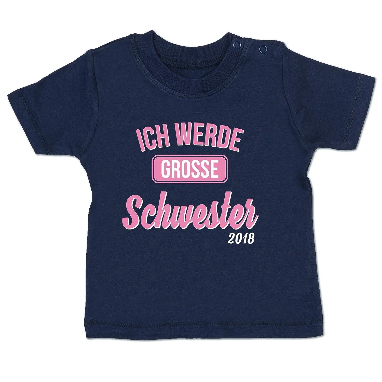 Shirtracer Geschwisterliebe Baby - Ich werde große Schwester 2018 - Babyshirt Kurzarm BZ02
