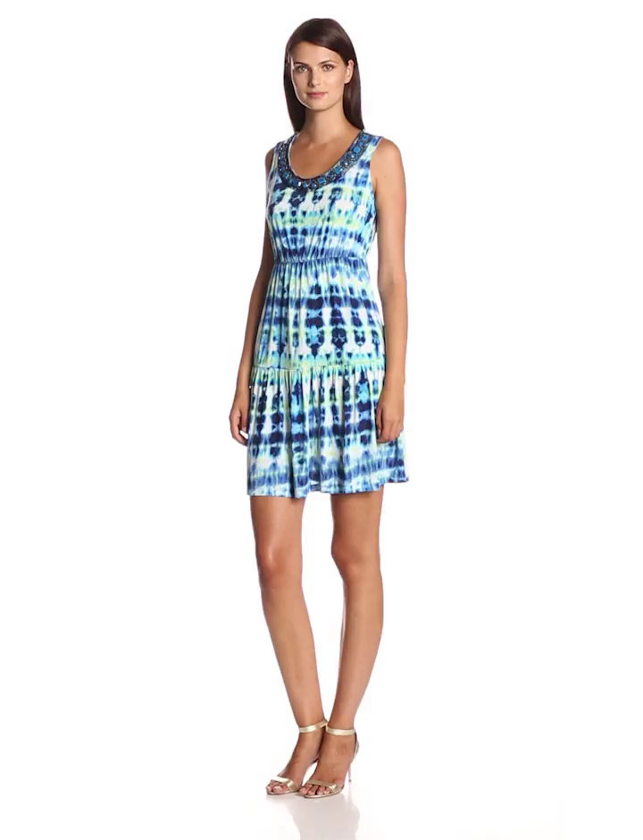 NY Collection Women's Sleeveless Printed Tiered Dress with Embellished Neck, Royal Cosmo, Small