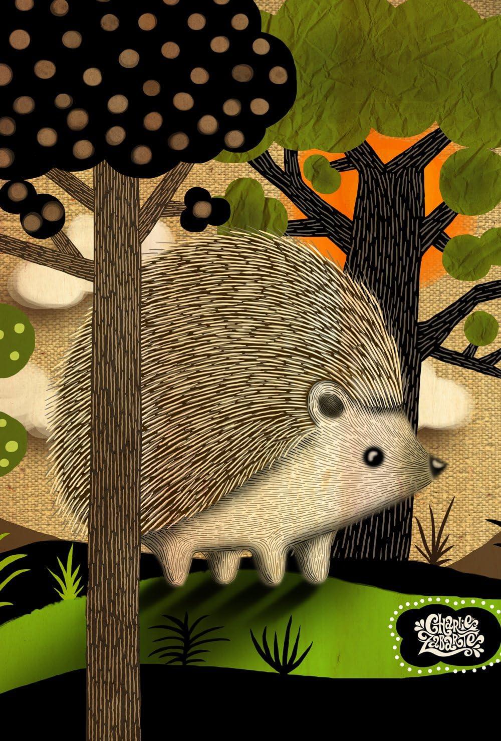 Toland Home Garden Happy Hedgehog 12.5 x 18 Inch Decorative Cute Forest Animal Outdoors Garden Flag