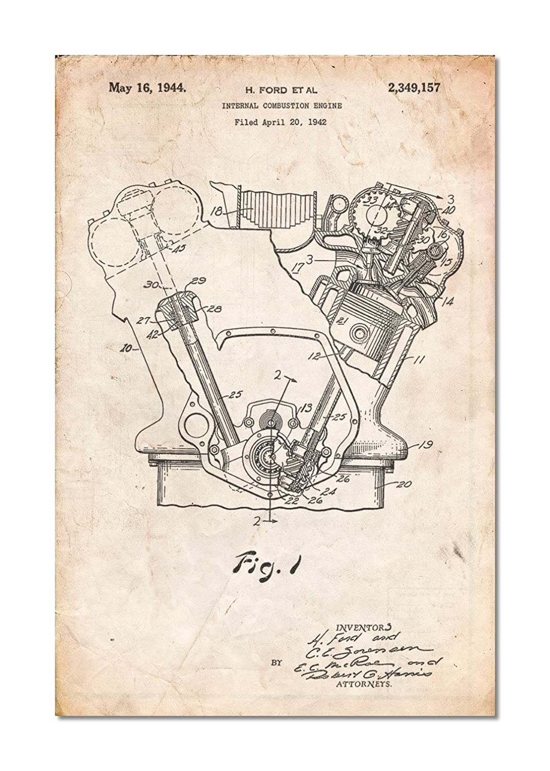 Patentprints Internal Combustion Engine Poster Home Illustrated Diagram Of A Basic Kitchen