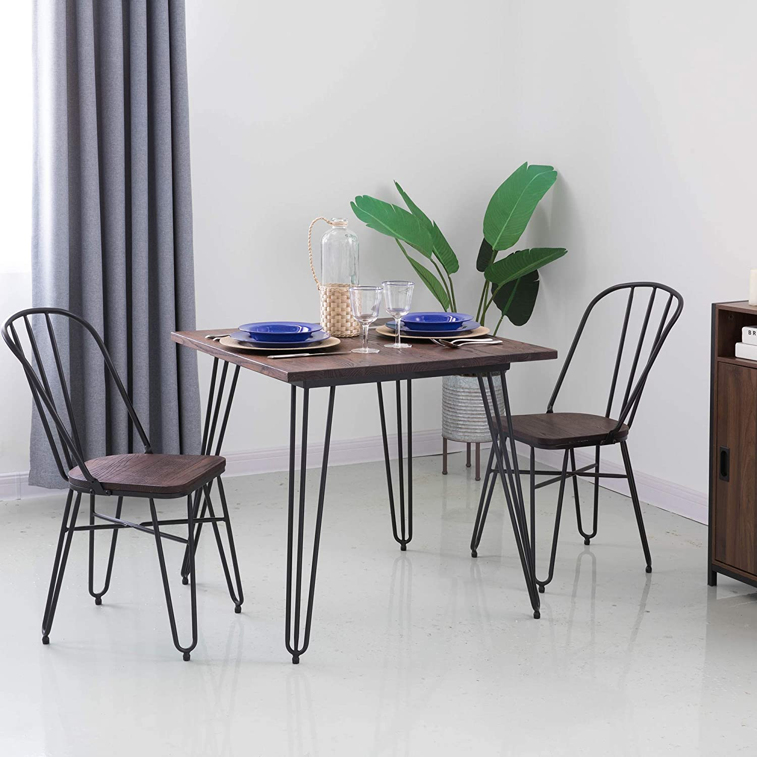 Amazon Com Glitzhome Industrial Farmhouse Dining Table With Solid Wood Top Metal Legs Dining Chairs With High Backrest Bistro Table And Chairs Set Table And 2 Pieces Chair Table Chair Sets