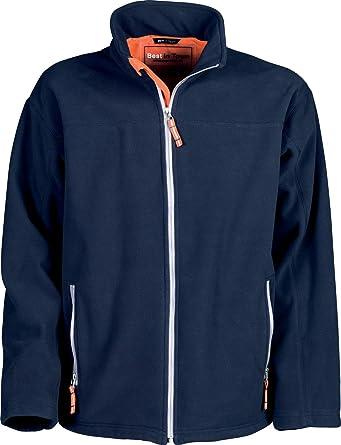 BEST IN TOWN Bonded fleece jacket (navy/orange, XXL): Amazon.co.uk ...