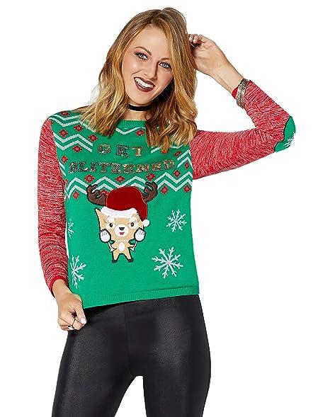 Light Up Christmas Sweater.Amazon Com Get Blitzened Reindeer Light Up Ugly Christmas