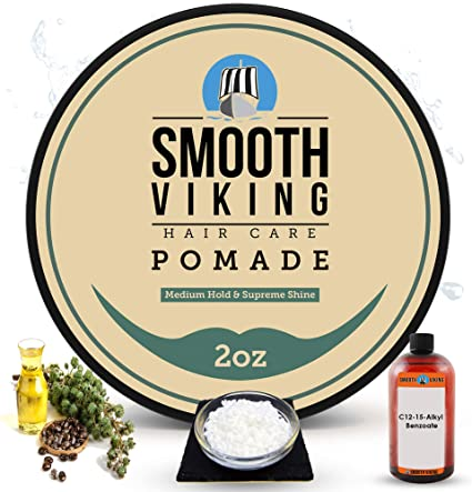 Pomade For Men Best Hair Styling Formula For Medium Hold And High Shine Perfect For Straight Thick And Curly Hair 2 Oz Smooth Viking Amazon Co Uk Beauty