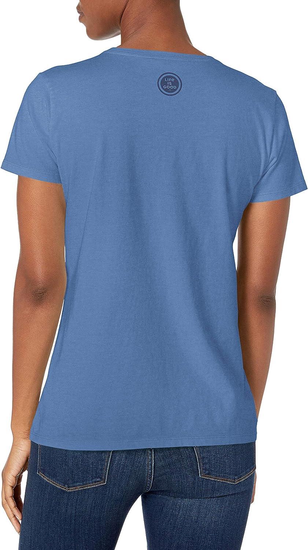 Life is Good Womens Crusher Vee Half Full Daisy T-Shirt