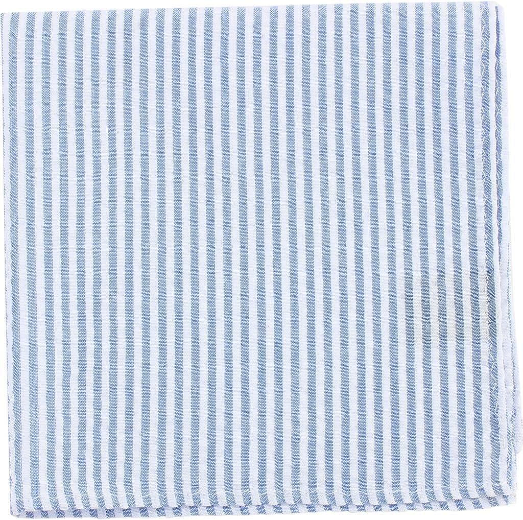 Knightsbridge Neckwear Mens Striped Cotton Pocket Square Sky Blue//White