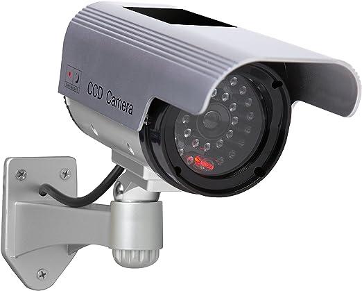 C/ámara Falsa C/ámara de vigilancia Falsa simulada con Bala Solar C/ámara Domo CCTV de Seguridad con luz LED Intermitente para Exteriores Interiores hogar Negocios Negro-2 Paquete