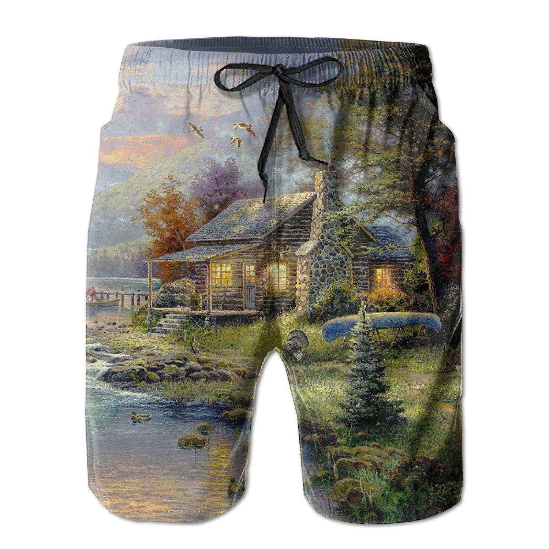 MSGDF Amazing Village of Dorset Summer Mens Quick-Drying Swim Trunks Beach Shorts