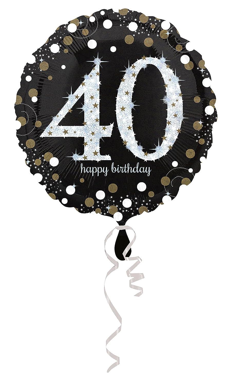 Carpeta Globo * Número 40 Happy Birthday + Helium Relleno + ...