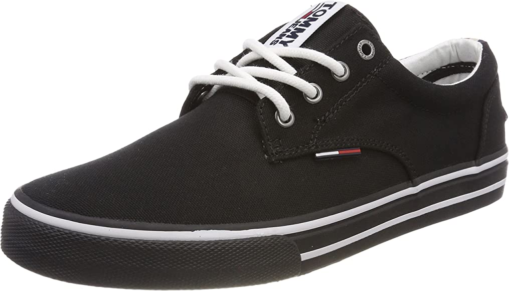 Genvägar Framsynthet Förakt  Tommy Jeans Men's Textile Sneaker, Black (Black 990): Amazon.co.uk ...