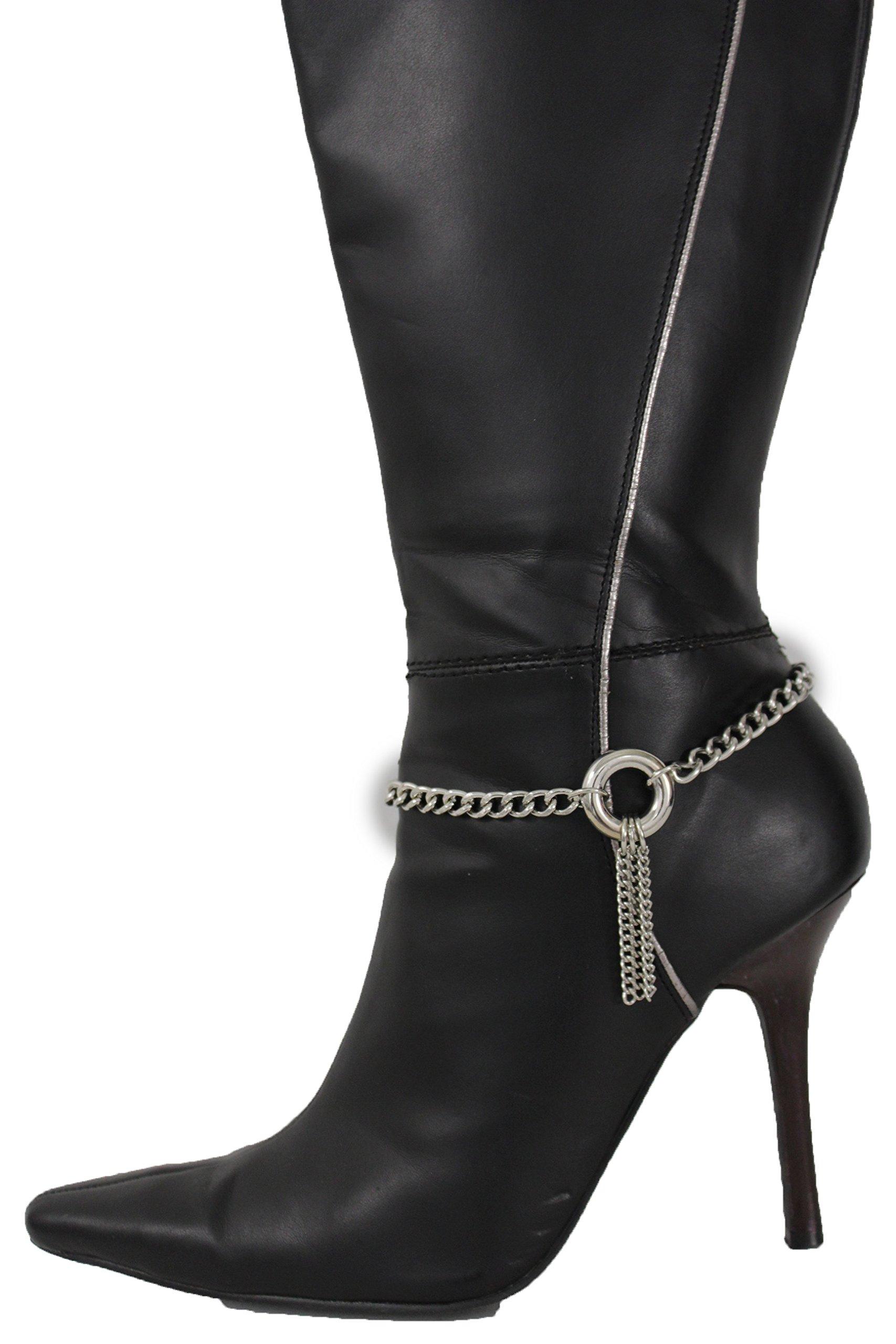TFJ Women Western Fashion Jewelry Boot Chain Bracelet Silver Metal Ring Fringes Bling Shoe Charm