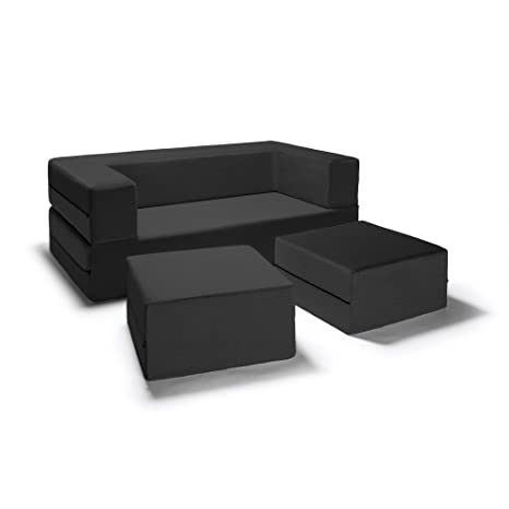 Superb Jaxx Zipline Convertible Sleeper Loveseat Ottomans Queen Size Bed Black Beatyapartments Chair Design Images Beatyapartmentscom