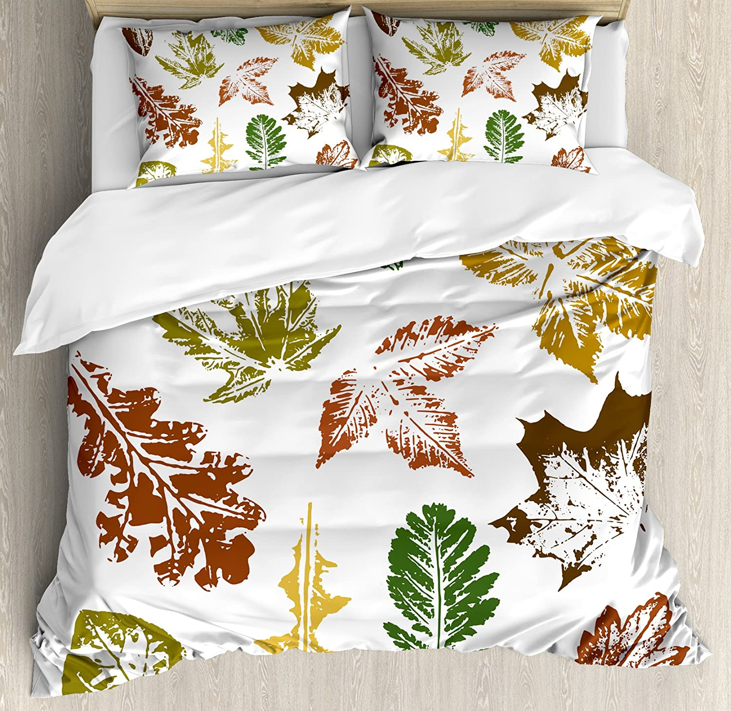 Ambesonne Leaf Duvet Cover Set King Size, Autumn Spring Maple Oak Various Tree Leaves in Grunge Style Art, Decorative 3 Piece Bedding Set with 2 Pillow Shams, Burgundy Brown and Forest Green