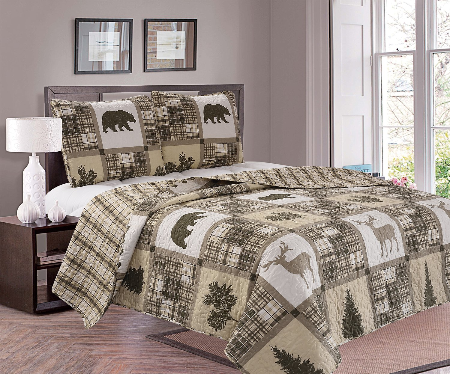 Great Bay Home 2-Piece Lodge Quilt Set with Shams. Durable Cabin Bedspread and Shams with Rustic Printed Pattern. Stonehurst Collection Brand. (Twin)