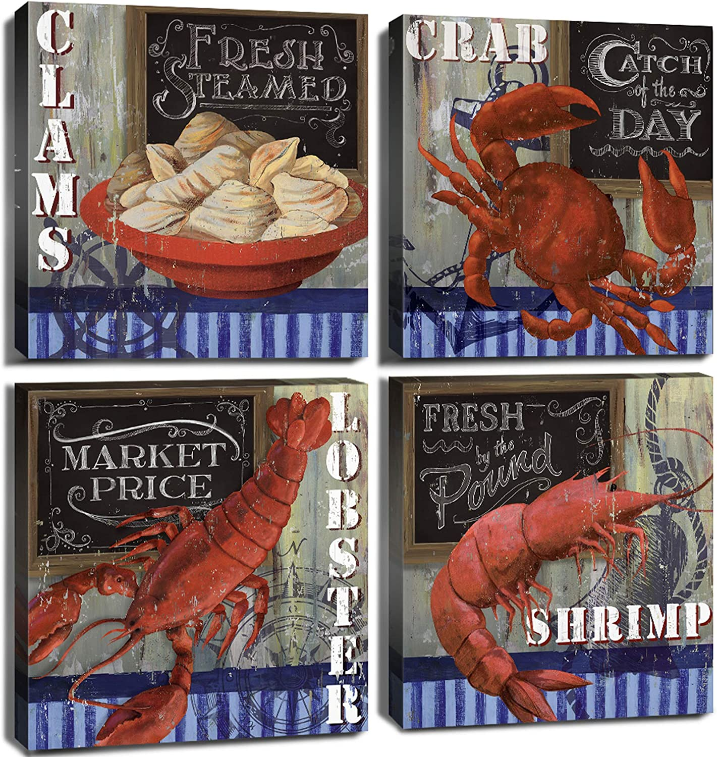 Cooking Wall Decor Kitchen Seafood Canvas Prints Art Decoration Farmhouse Rustic Retro Red and Blue Lobster Sea Animal Theme Photo Crab Clam Shrimp Pictures Aesthetic Coastal Painting 12×12 Inch 4 Pcs