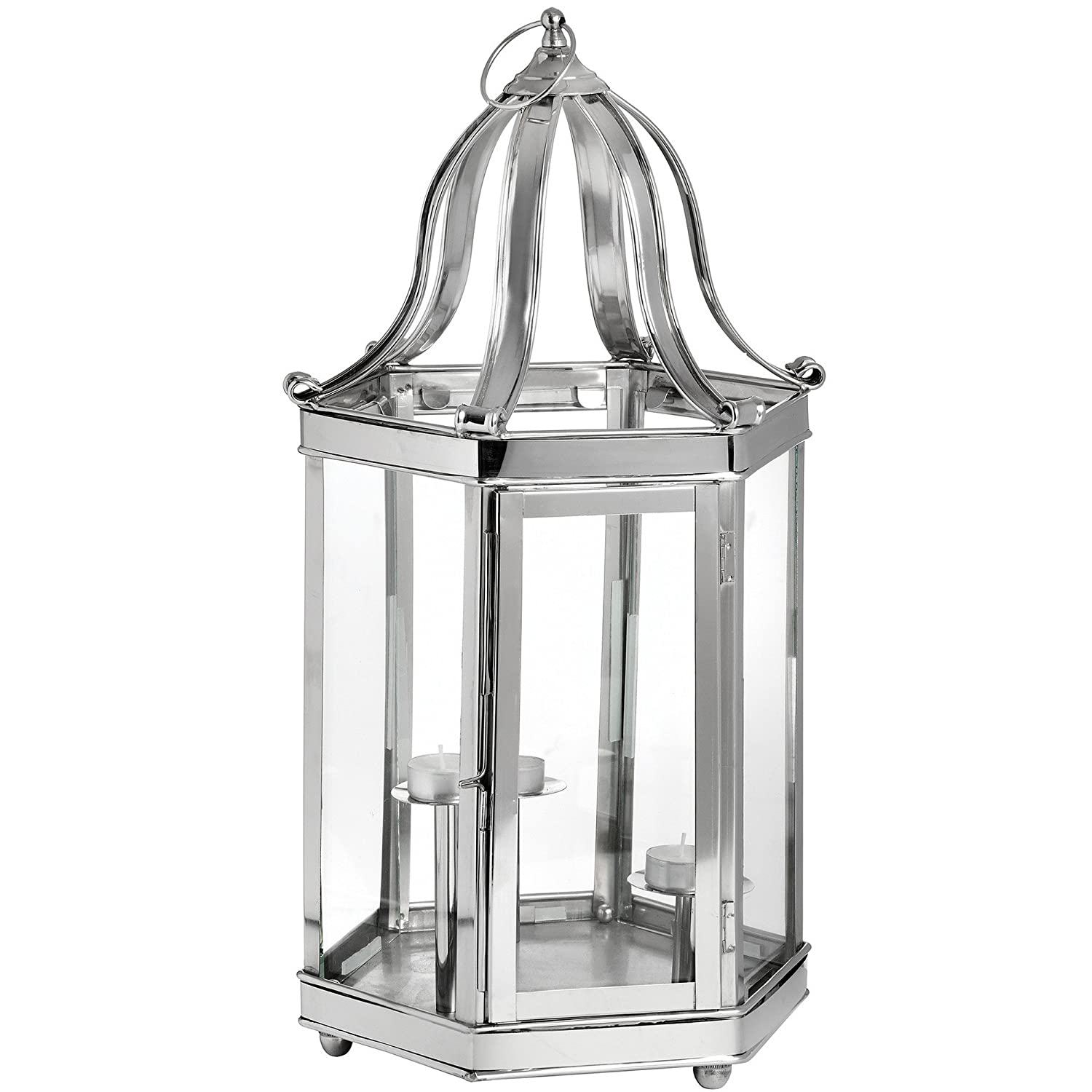 Hill Interiors Decorative Lantern With 3 Candle Stands (H53 x W26 x D26cm) (Silver) UTHI2704_1