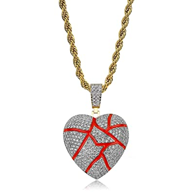 5e90909fb9169 TOPGRILLZ 14K Gold Plated Iced Out CZ Bubble Broken Heart Pendant Necklace  Chain for Men Women