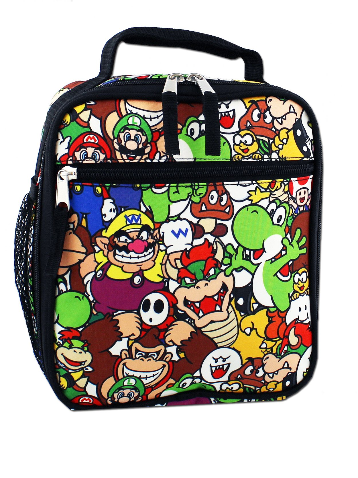 Super Mario Boys Girls Soft Insulated School Lunch Box (Black/Multi)