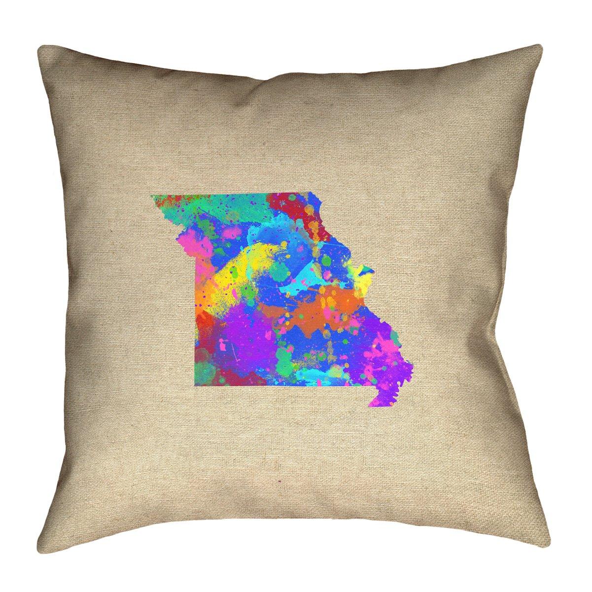 ArtVerse Katelyn Smith 16 x 16 Indoor//Outdoor UV Properties-Waterproof and Mildew Proof Missouri Watercolor Pillow