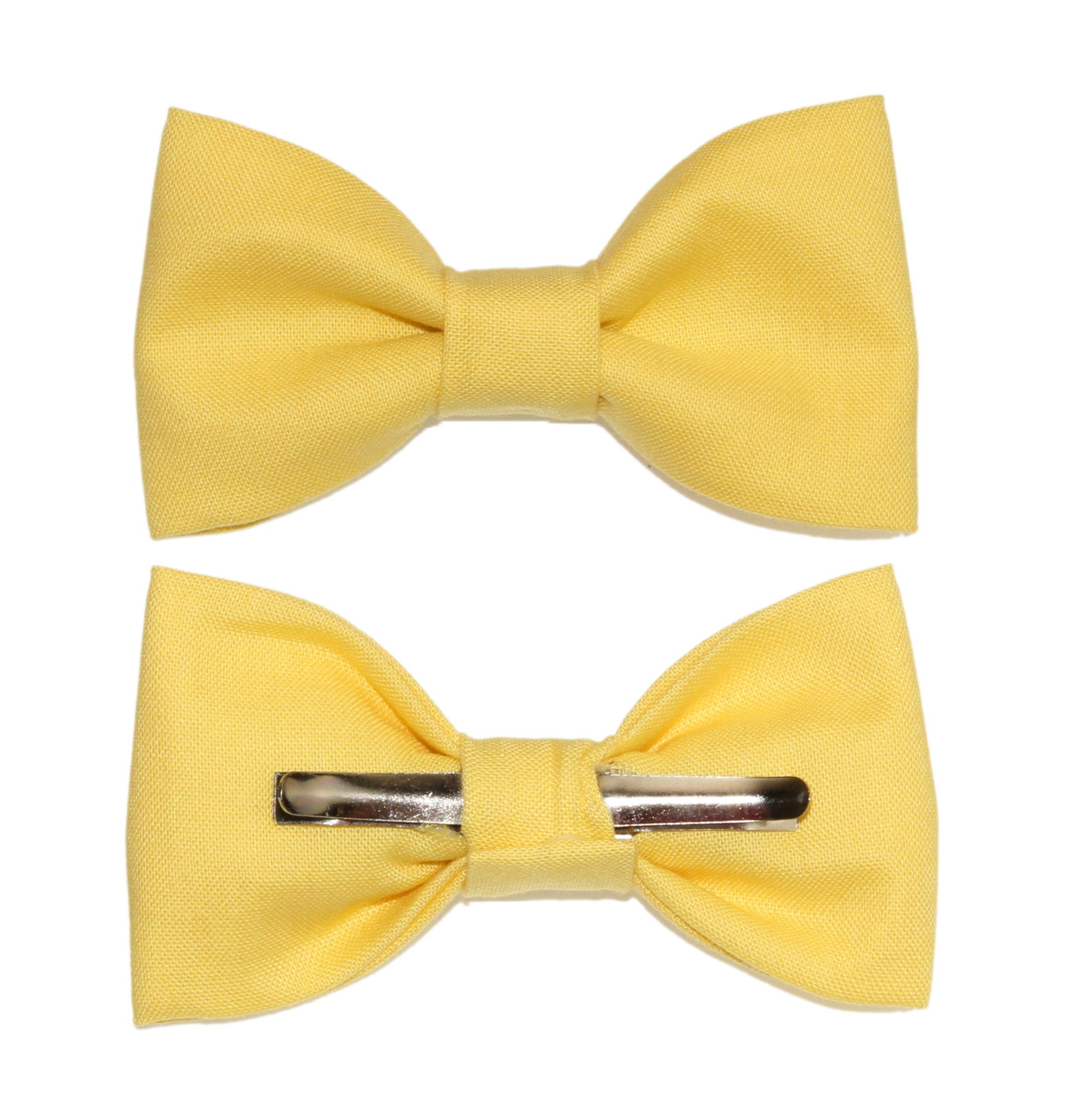 Toddler Boy 3T 4T Yellow Clip On Cotton Bow Tie - Made in USA