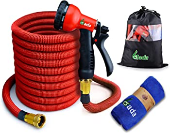 Gada 100-Feet Expandable Garden Hose with 8-Way Spry Nozzle