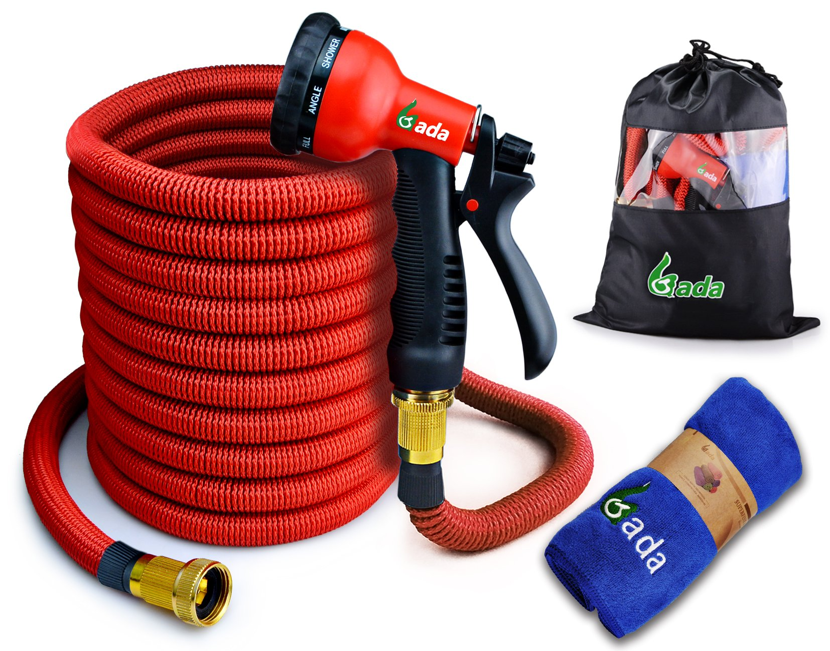 Gada Flexible Garden Hose with 8-Function Sprayer - Expandable Hose Pipe Wont Leak, Doesn't Twist & Kink- Lightweight Expanding Water Hose 50FT