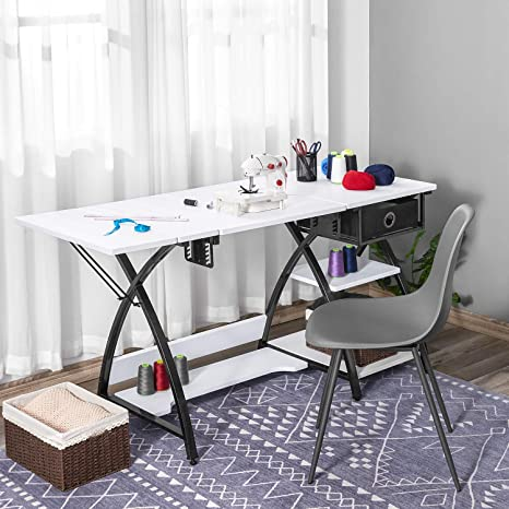 Sewing Table Adjustable Sewing Craft Table With Drawer And Shelves X Cross Sturdy Sewing Desk Multipurpose Computer Desk 57 1 23 6 29 9 Inches White