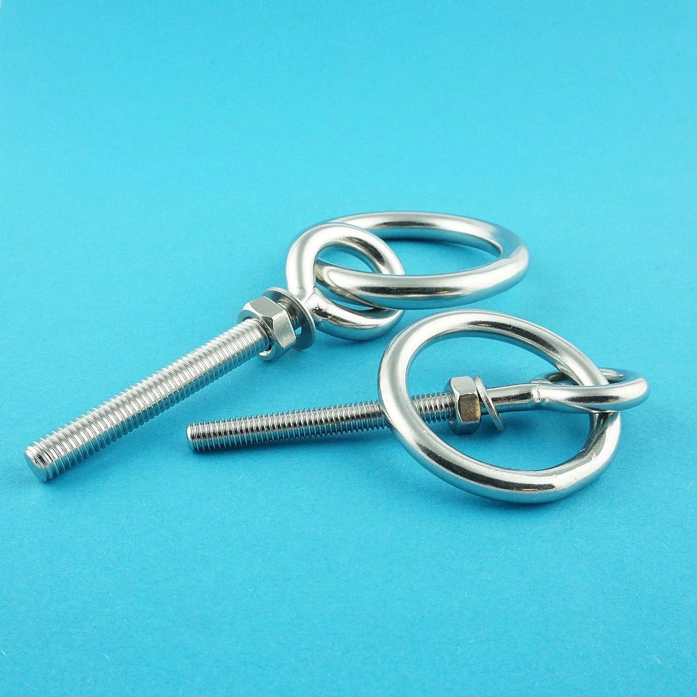 Eisenwaren2000 metrisches Gewinde M12 x 150 mm Augbolzen mit Ring Ringschraube - /Ösenschrauben 2 St/ück Edelstahl A2 V2A rostfrei