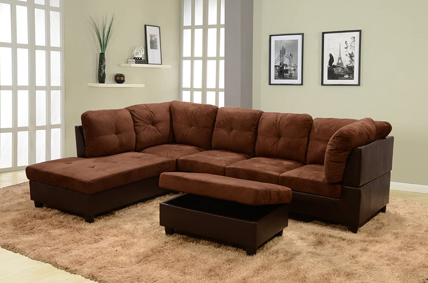 Amazon.com: Lifestyle Coffee 3 Piece Microfiber U0026 Faux Leather Left Facing Sectional  Sofa Set With Free Storage Ottoman: Kitchen U0026 Dining