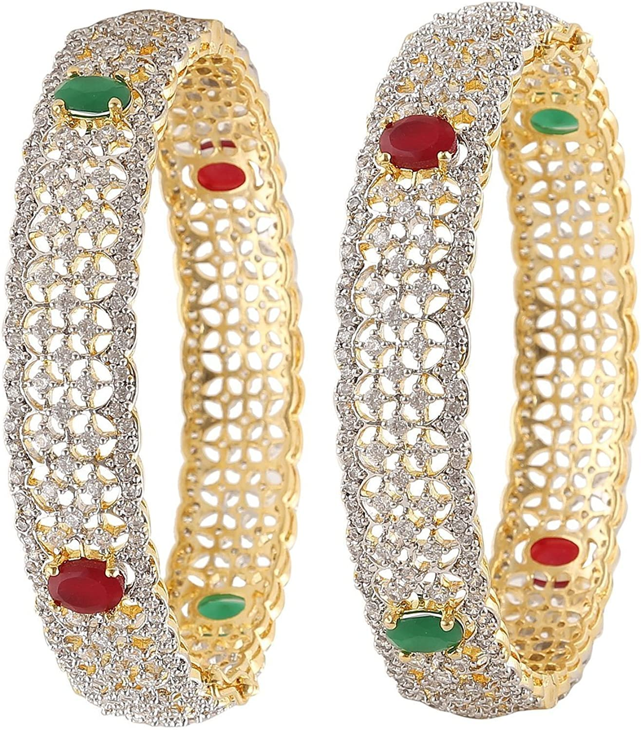 Shiv/_Collection Ethinc Traditional Fashion Gold Tone CZ Stone Indian Bangles Partywear Jewelry 2.4