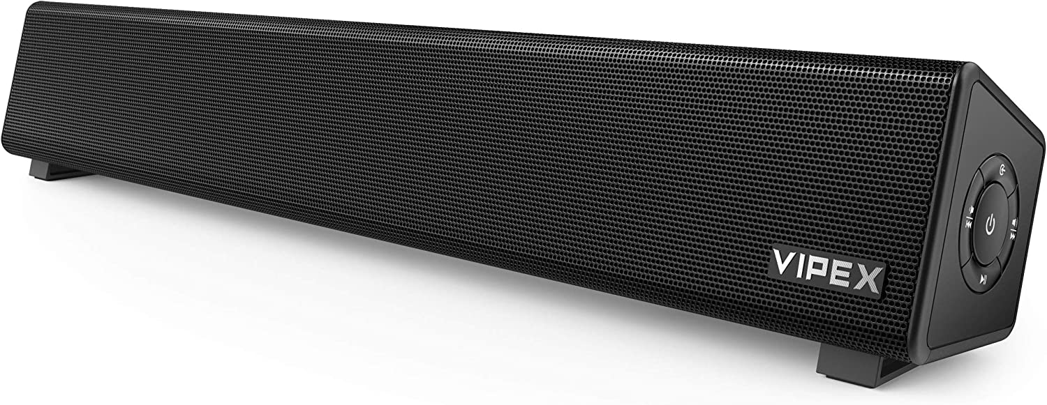 Computer Speakers, VIPEX Bluetooth PC Speakers Sound Bar, 10W Powerful Stereo Mini Soundbar Speaker for TV, Desktop, Laptop, Smartphone and Tablet, Black