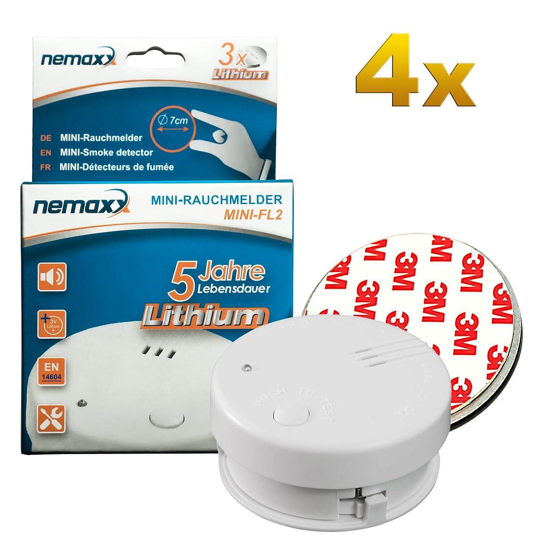 4X Detector de Humo Nemaxx Mini-FL2 Mini Detector de Fuego y Humo con batería de Litio de Acuerdo con la Norma DIN EN 14604 + 4X Nemaxx Fijación magnética: ...