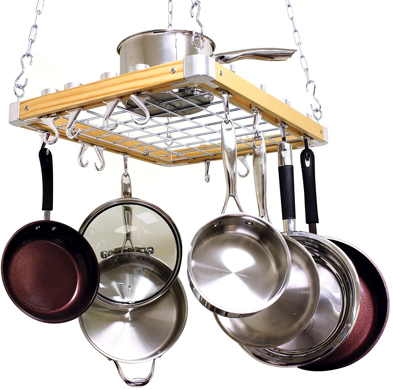 dining pot cooks kitchen com dp rack wooden standard mounted ceiling racks amazon pan inch by