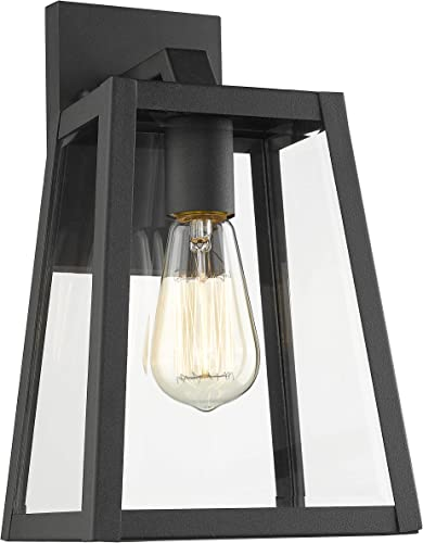 Emliviar Outdoor Wall Lantern, 1-Light Exterior Wall Light, Black Finish with Clear Bevel Glass, 12 Height, OS-1803AW2