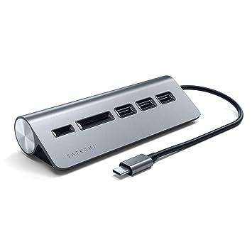 SATECHI Hub USB Tipo-C y Lector de Tarjetas Micro/SD de Aluminio Compatible con iMac, MacBook Pro, DELL Serie XPS, Lenovo Yoga y Muchos más (Gris ...