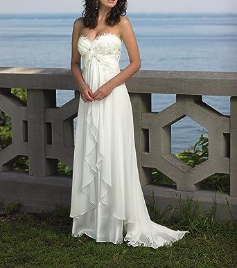 Strapless Brautkleider Für Braut Spitze Rüschen Long Beach ...