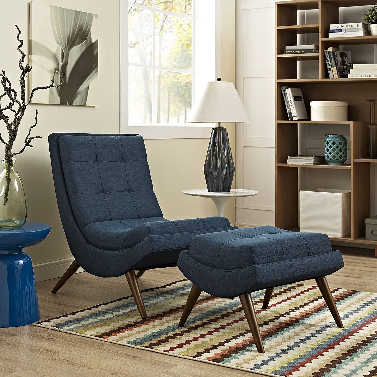Modway Ramp Fabric Upholstered Lounge and Ottoman 2-Piece Set in Azure