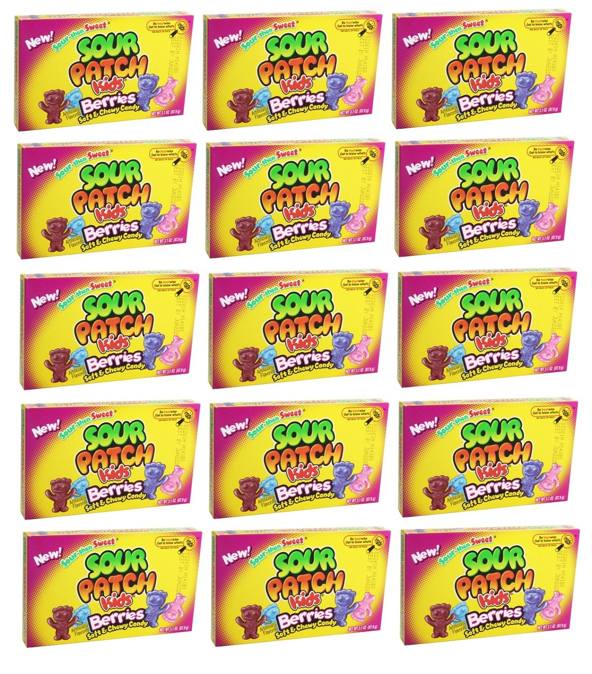 Delicious Treats Sour Patch Kids - Berries 15ct of 3.1 Oz- Tj