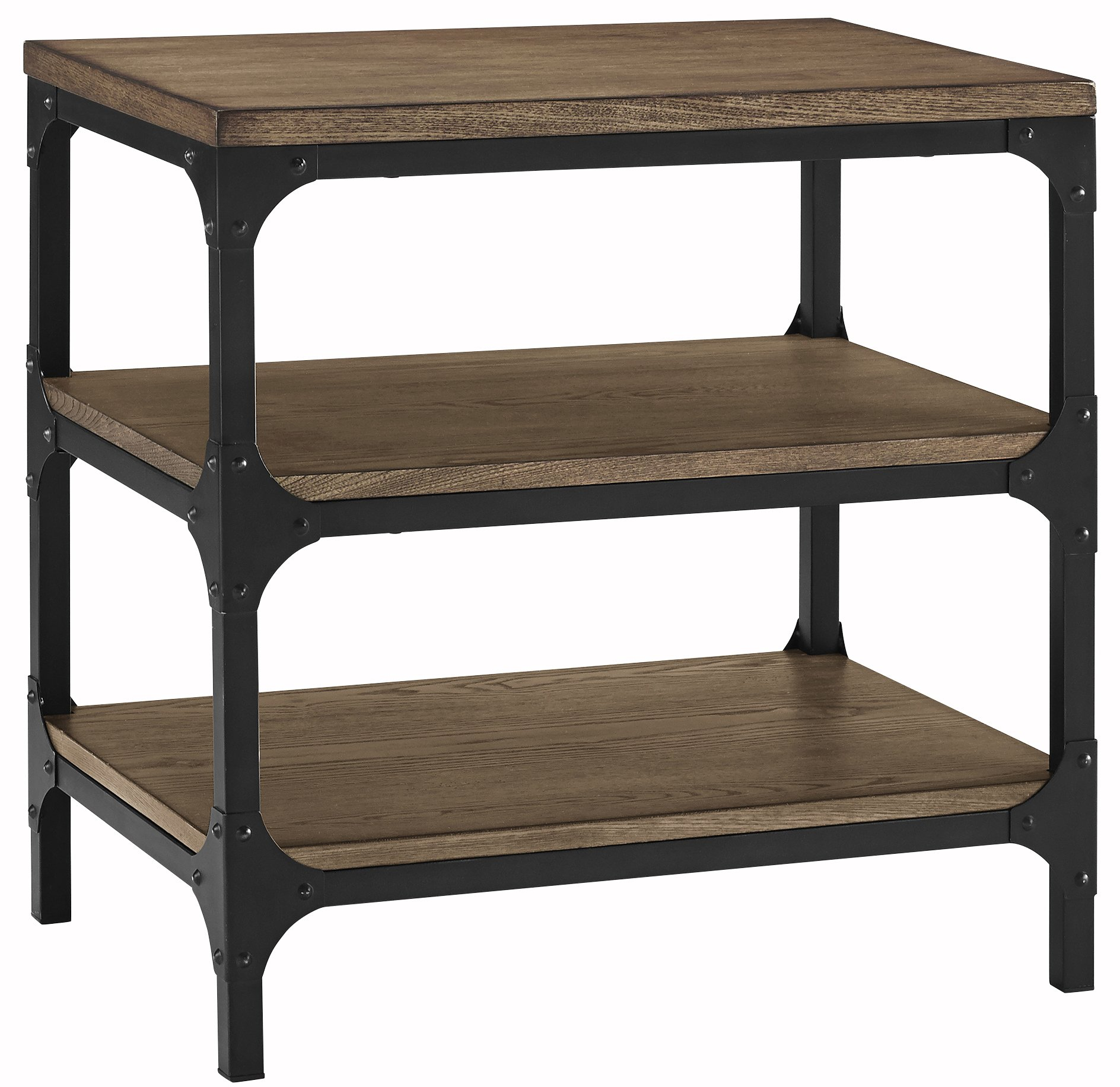 Crosley Furniture CF6104-CO Trenton End Table - Rustic charm and industrial-strength quality are perfectly joined in the Trenton table series Aged metal construction framing solid wood shelving finished in ash veneers Open storage shelves for east access to your most-used items - living-room-furniture, living-room, end-tables - 818sfRUno7L -