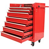 Arebos Werkstattwagen 7 Fächer rot (✓ zentral abschließbar, ✓ Anti-Rutschbeschichtung, ✓ Räder mit Festellbremse, ✓ Massives Metall)