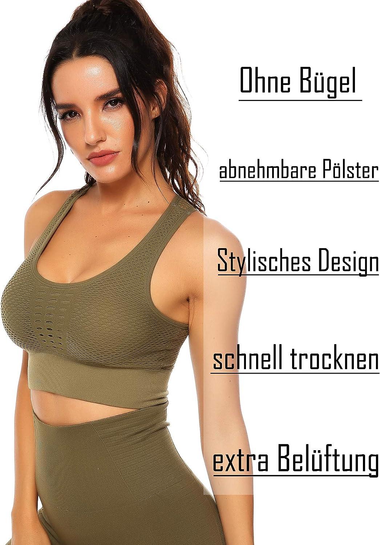 INSTINNCT Damen Komfort Klassische Racerback Sport BH Top mit Polstern für Yoga Fitness-Training Grün