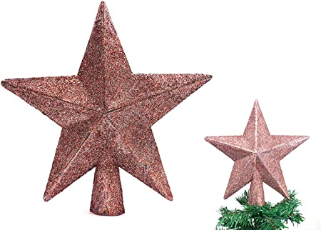 Gold Christmas Elegance 7.8 H Star Tree Topper with Glitter Christmas Tree Decoration